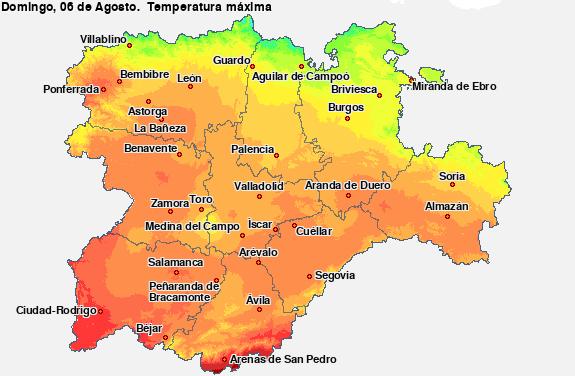 Mapa de color de para el dia 18-octTemperatura Máxima